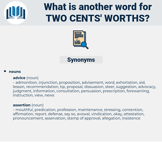 two cents' worths, synonym two cents' worths, another word for two cents' worths, words like two cents' worths, thesaurus two cents' worths