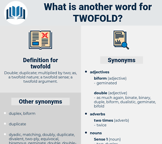 twofold, synonym twofold, another word for twofold, words like twofold, thesaurus twofold