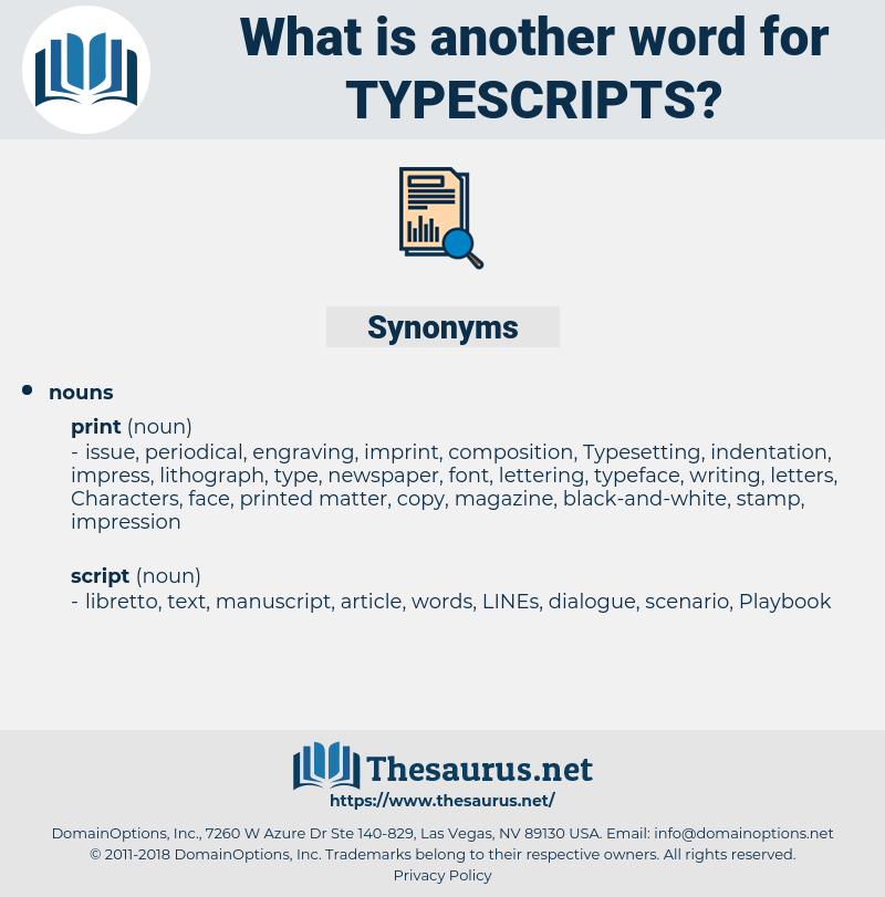 typescripts, synonym typescripts, another word for typescripts, words like typescripts, thesaurus typescripts