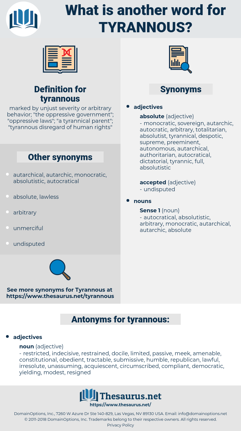 tyrannous, synonym tyrannous, another word for tyrannous, words like tyrannous, thesaurus tyrannous
