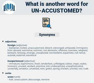 un-accustomed, synonym un-accustomed, another word for un-accustomed, words like un-accustomed, thesaurus un-accustomed