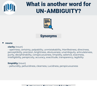 un-ambiguity, synonym un-ambiguity, another word for un-ambiguity, words like un-ambiguity, thesaurus un-ambiguity