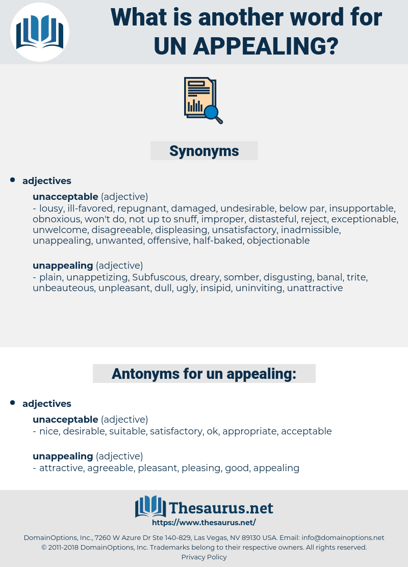 un appealing, synonym un appealing, another word for un appealing, words like un appealing, thesaurus un appealing