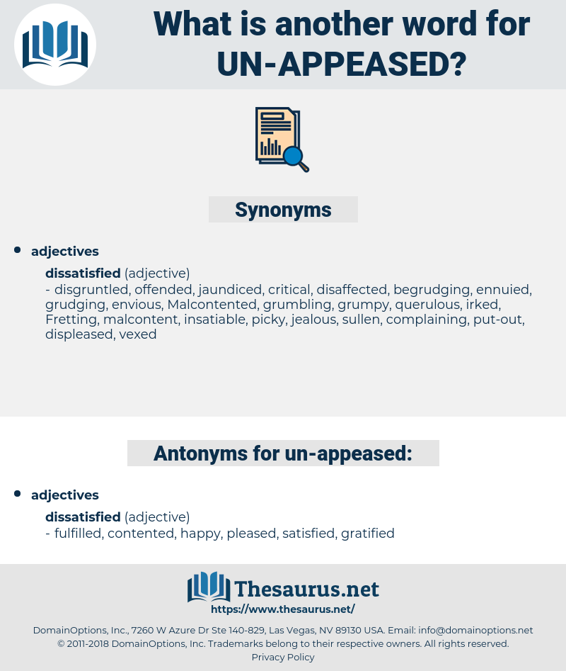 un-appeased, synonym un-appeased, another word for un-appeased, words like un-appeased, thesaurus un-appeased