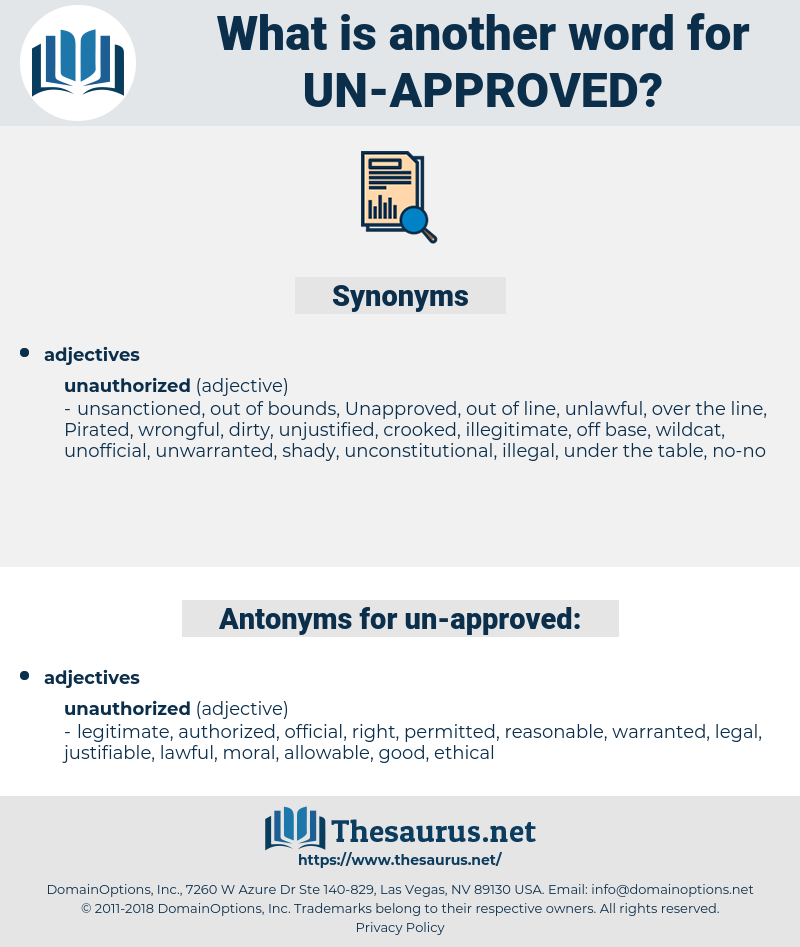 un-approved, synonym un-approved, another word for un-approved, words like un-approved, thesaurus un-approved