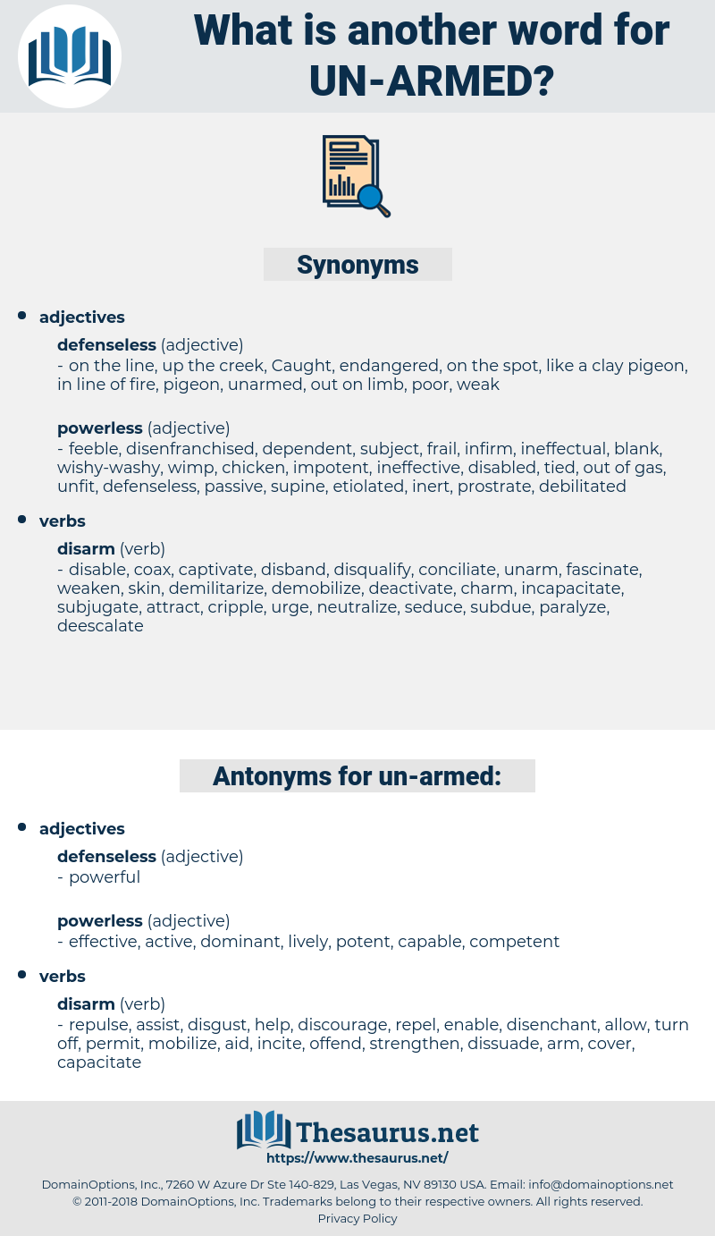un-armed, synonym un-armed, another word for un-armed, words like un-armed, thesaurus un-armed