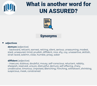 un-assured, synonym un-assured, another word for un-assured, words like un-assured, thesaurus un-assured