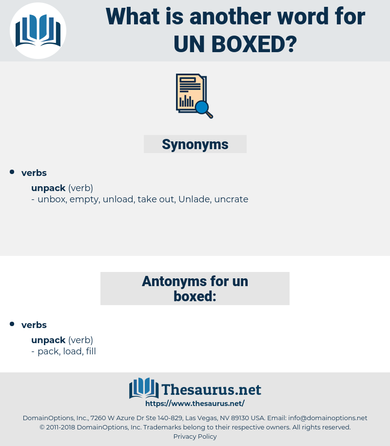 un-boxed, synonym un-boxed, another word for un-boxed, words like un-boxed, thesaurus un-boxed