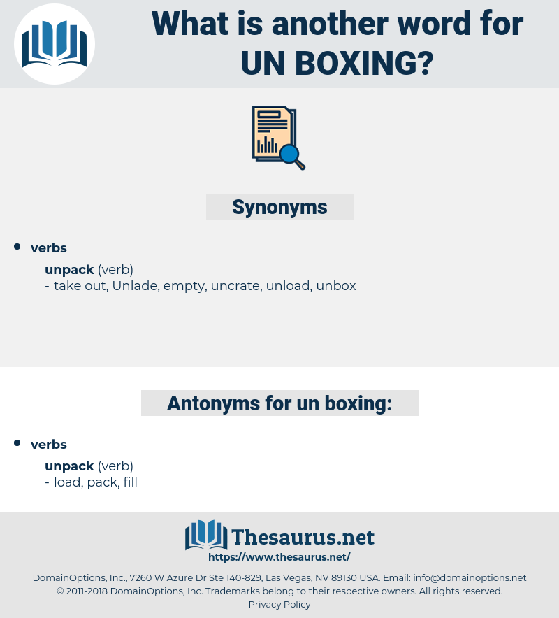 un-boxing, synonym un-boxing, another word for un-boxing, words like un-boxing, thesaurus un-boxing