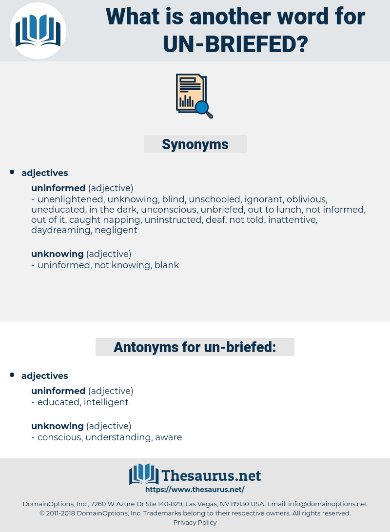 un-briefed, synonym un-briefed, another word for un-briefed, words like un-briefed, thesaurus un-briefed