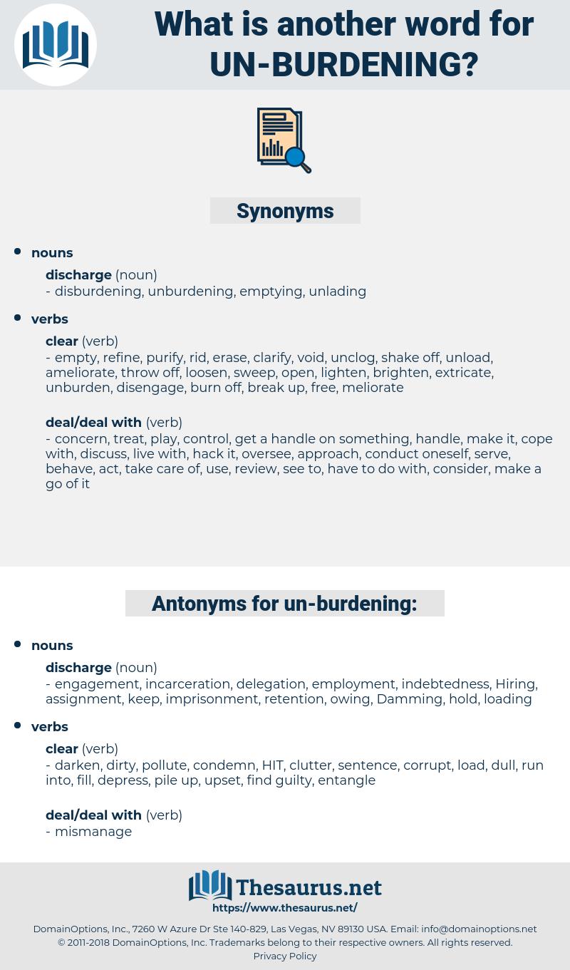 un-burdening, synonym un-burdening, another word for un-burdening, words like un-burdening, thesaurus un-burdening