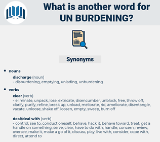 un-burdening, synonym un-burdening, another word for un-burdening, words like un-burdening, thesaurus un-burdening