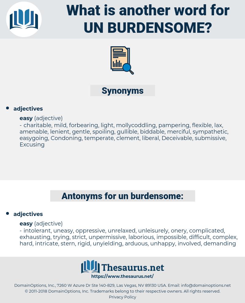 un burdensome, synonym un burdensome, another word for un burdensome, words like un burdensome, thesaurus un burdensome