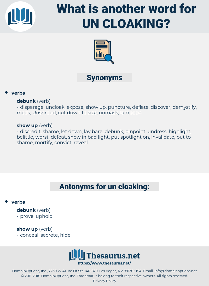 un-cloaking, synonym un-cloaking, another word for un-cloaking, words like un-cloaking, thesaurus un-cloaking