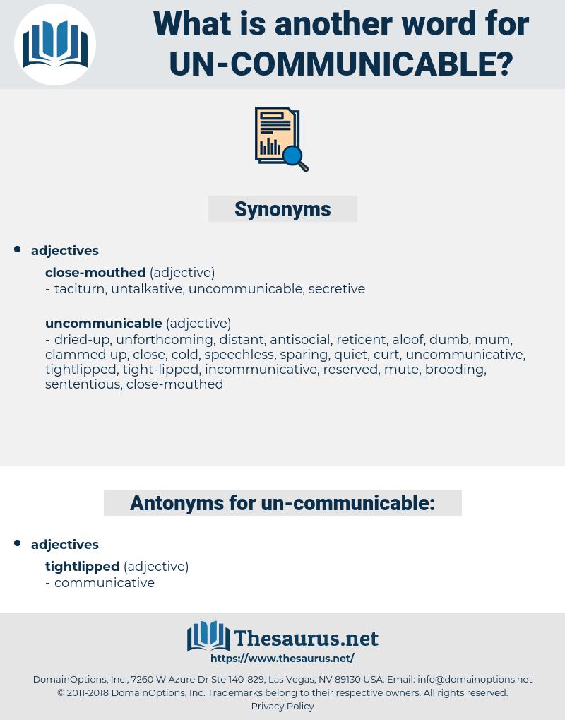 un-communicable, synonym un-communicable, another word for un-communicable, words like un-communicable, thesaurus un-communicable