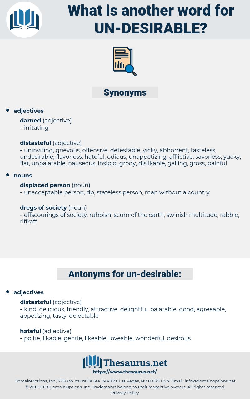 un-desirable, synonym un-desirable, another word for un-desirable, words like un-desirable, thesaurus un-desirable