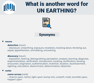 un earthing, synonym un earthing, another word for un earthing, words like un earthing, thesaurus un earthing