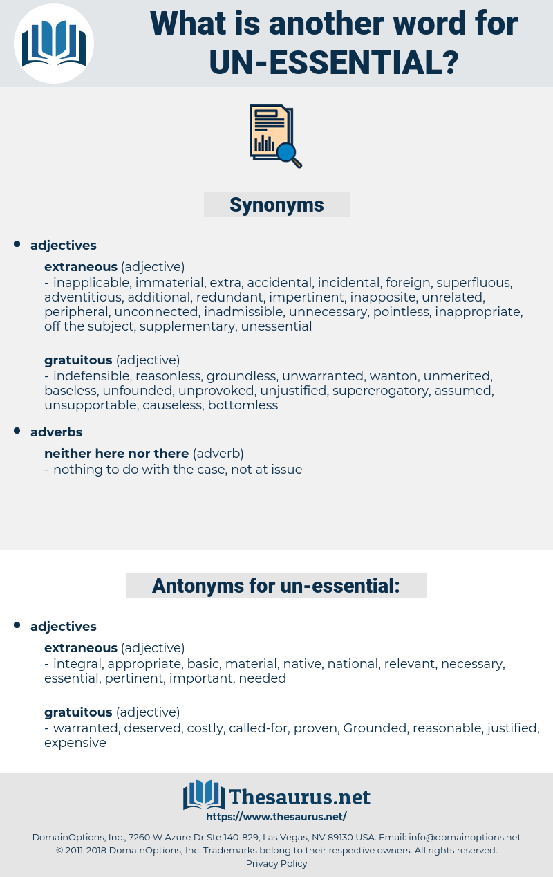 un-essential, synonym un-essential, another word for un-essential, words like un-essential, thesaurus un-essential