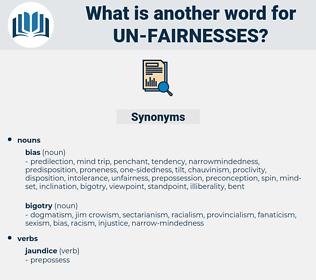 un fairnesses, synonym un fairnesses, another word for un fairnesses, words like un fairnesses, thesaurus un fairnesses