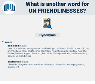 un-friendlinesses, synonym un-friendlinesses, another word for un-friendlinesses, words like un-friendlinesses, thesaurus un-friendlinesses