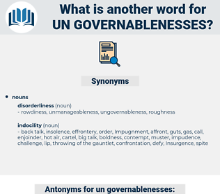 un-governablenesses, synonym un-governablenesses, another word for un-governablenesses, words like un-governablenesses, thesaurus un-governablenesses