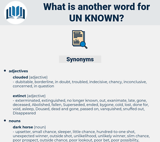 un-known, synonym un-known, another word for un-known, words like un-known, thesaurus un-known