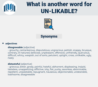 un-likable, synonym un-likable, another word for un-likable, words like un-likable, thesaurus un-likable