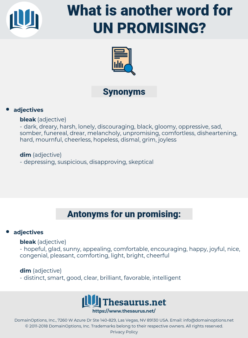 un-promising, synonym un-promising, another word for un-promising, words like un-promising, thesaurus un-promising