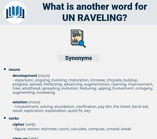 un raveling, synonym un raveling, another word for un raveling, words like un raveling, thesaurus un raveling