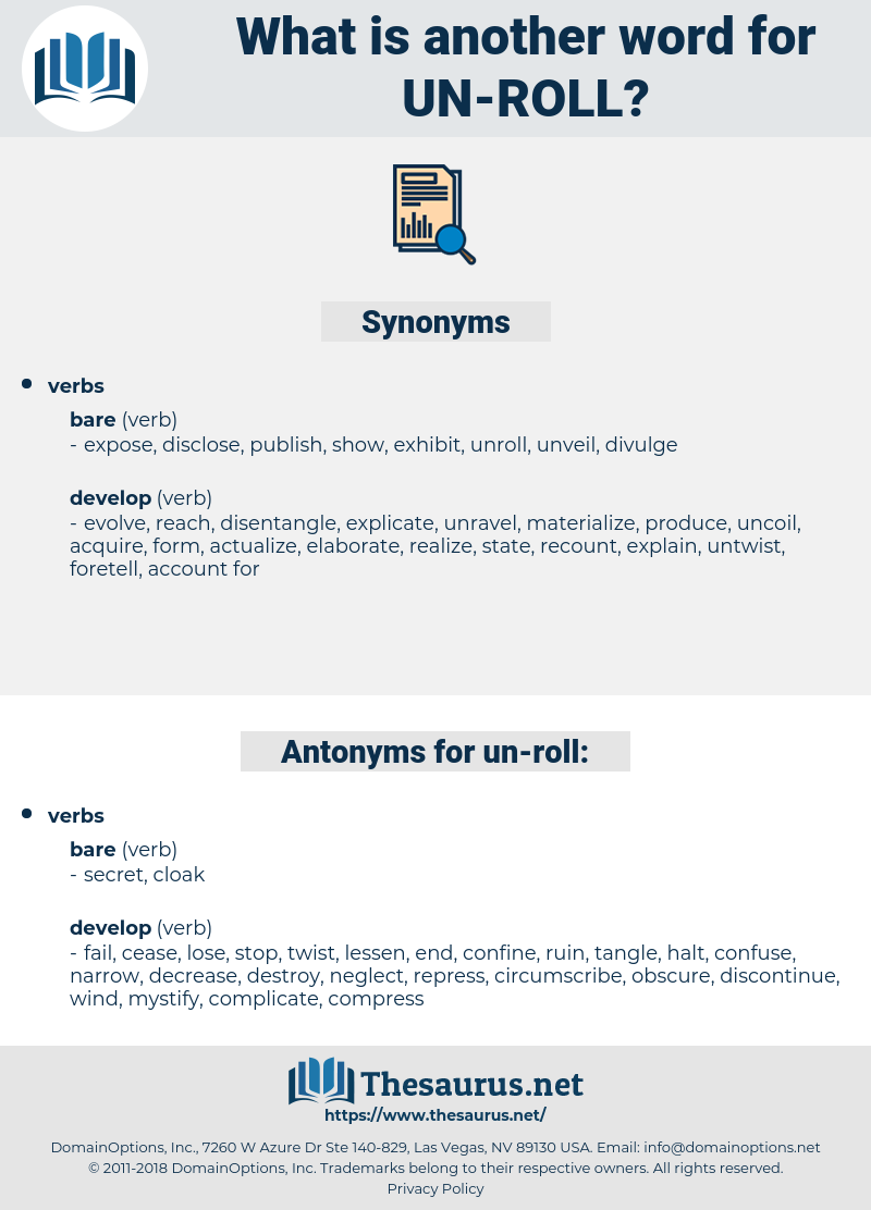 un roll, synonym un roll, another word for un roll, words like un roll, thesaurus un roll