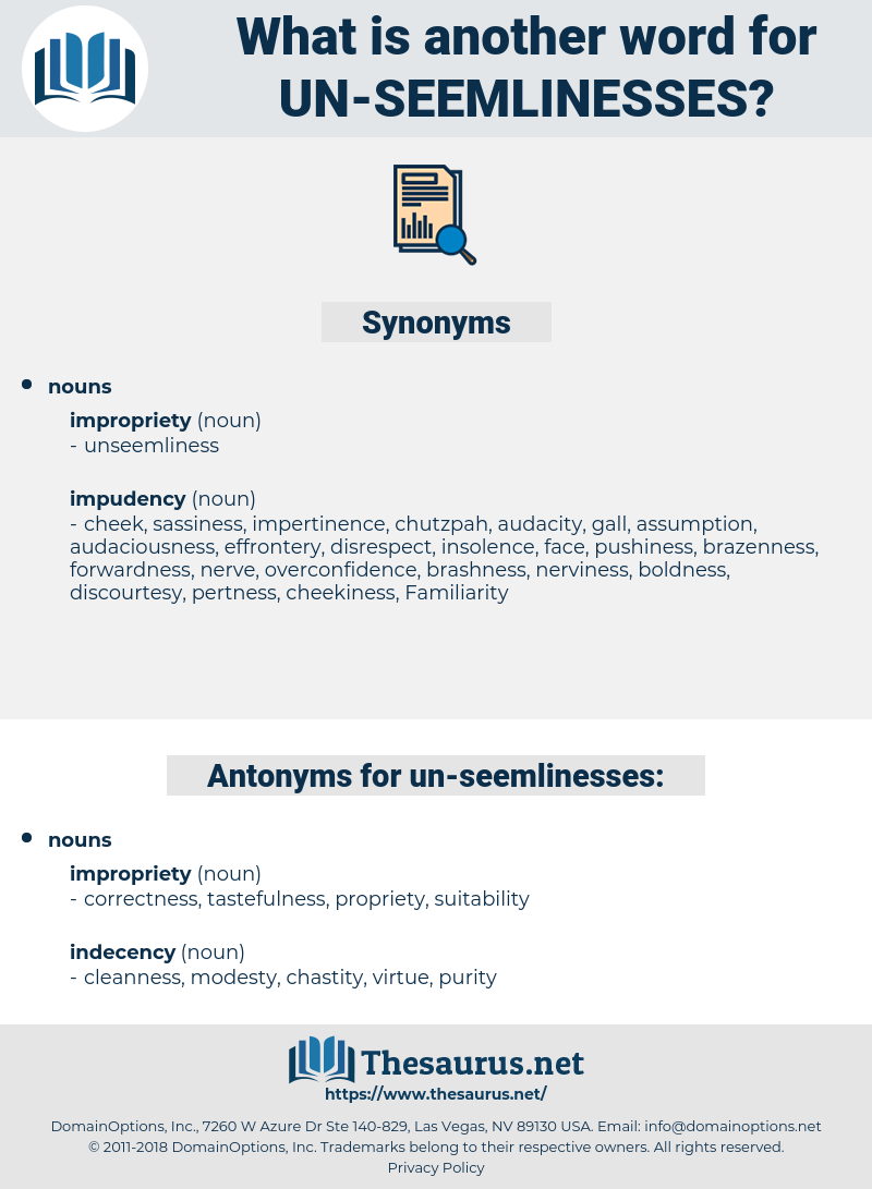 un-seemlinesses, synonym un-seemlinesses, another word for un-seemlinesses, words like un-seemlinesses, thesaurus un-seemlinesses