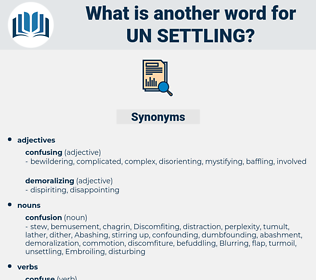 un-settling, synonym un-settling, another word for un-settling, words like un-settling, thesaurus un-settling