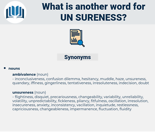 un-sureness, synonym un-sureness, another word for un-sureness, words like un-sureness, thesaurus un-sureness
