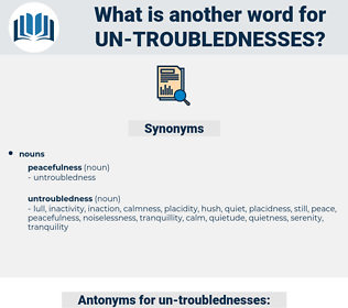 un-troublednesses, synonym un-troublednesses, another word for un-troublednesses, words like un-troublednesses, thesaurus un-troublednesses