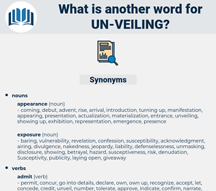un-veiling, synonym un-veiling, another word for un-veiling, words like un-veiling, thesaurus un-veiling