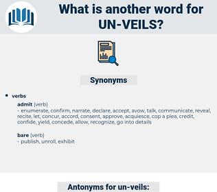 un-veils, synonym un-veils, another word for un-veils, words like un-veils, thesaurus un-veils