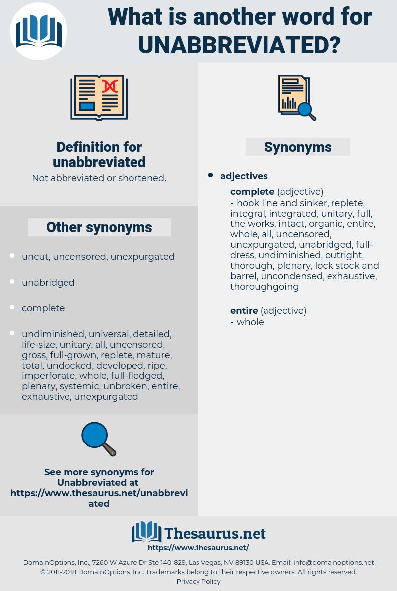 unabbreviated, synonym unabbreviated, another word for unabbreviated, words like unabbreviated, thesaurus unabbreviated
