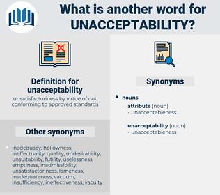 unacceptability, synonym unacceptability, another word for unacceptability, words like unacceptability, thesaurus unacceptability