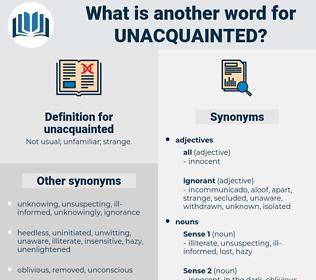 unacquainted, synonym unacquainted, another word for unacquainted, words like unacquainted, thesaurus unacquainted