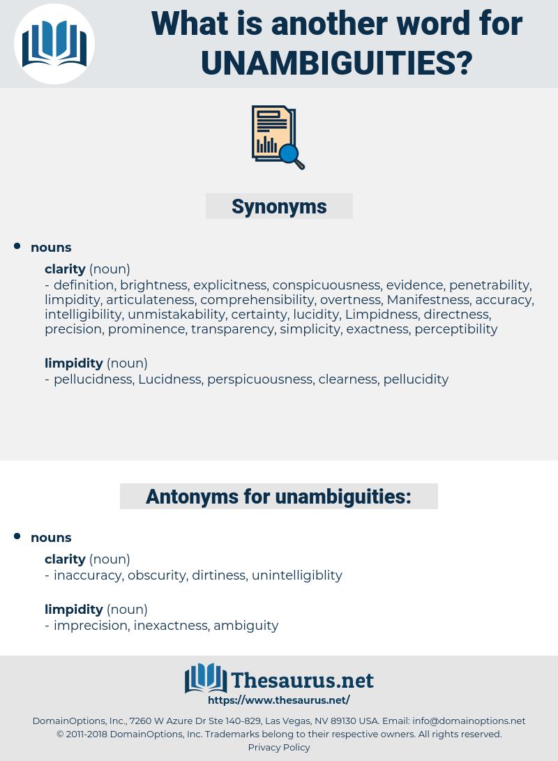 unambiguities, synonym unambiguities, another word for unambiguities, words like unambiguities, thesaurus unambiguities