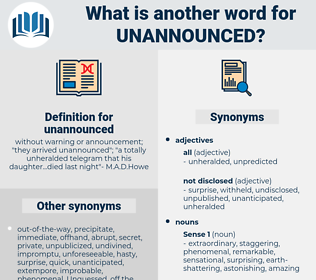 unannounced, synonym unannounced, another word for unannounced, words like unannounced, thesaurus unannounced