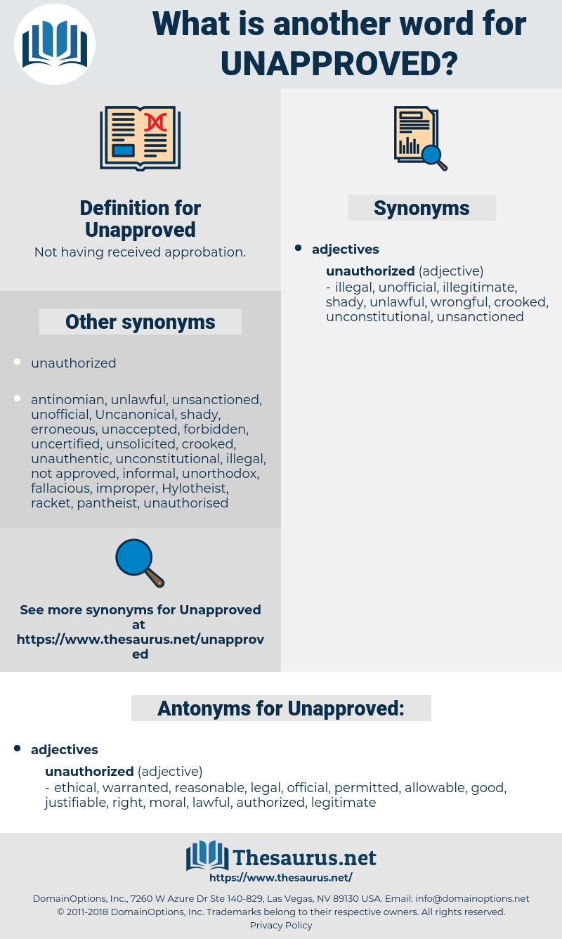 Unapproved, synonym Unapproved, another word for Unapproved, words like Unapproved, thesaurus Unapproved