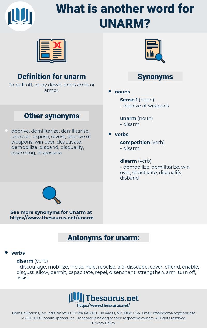 unarm, synonym unarm, another word for unarm, words like unarm, thesaurus unarm
