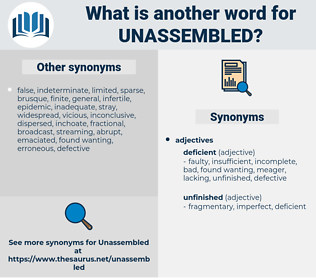 unassembled, synonym unassembled, another word for unassembled, words like unassembled, thesaurus unassembled