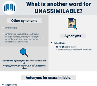 unassimilable, synonym unassimilable, another word for unassimilable, words like unassimilable, thesaurus unassimilable