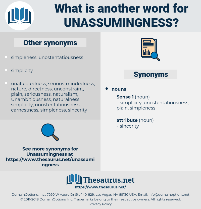 unassumingness, synonym unassumingness, another word for unassumingness, words like unassumingness, thesaurus unassumingness