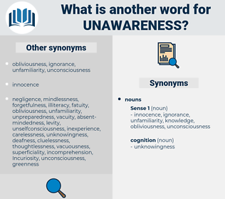 unawareness, synonym unawareness, another word for unawareness, words like unawareness, thesaurus unawareness