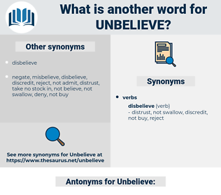 Unbelieve, synonym Unbelieve, another word for Unbelieve, words like Unbelieve, thesaurus Unbelieve