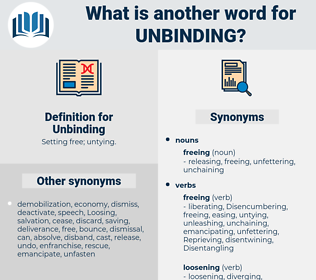 Unbinding, synonym Unbinding, another word for Unbinding, words like Unbinding, thesaurus Unbinding
