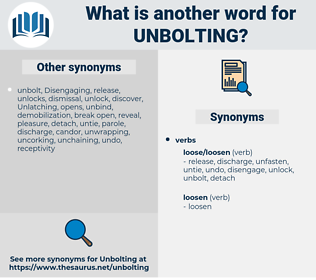 unbolting, synonym unbolting, another word for unbolting, words like unbolting, thesaurus unbolting